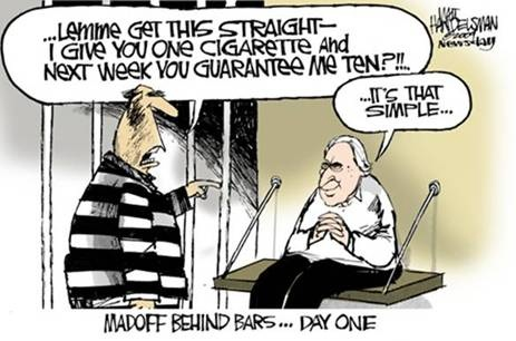 Madoff behind bars